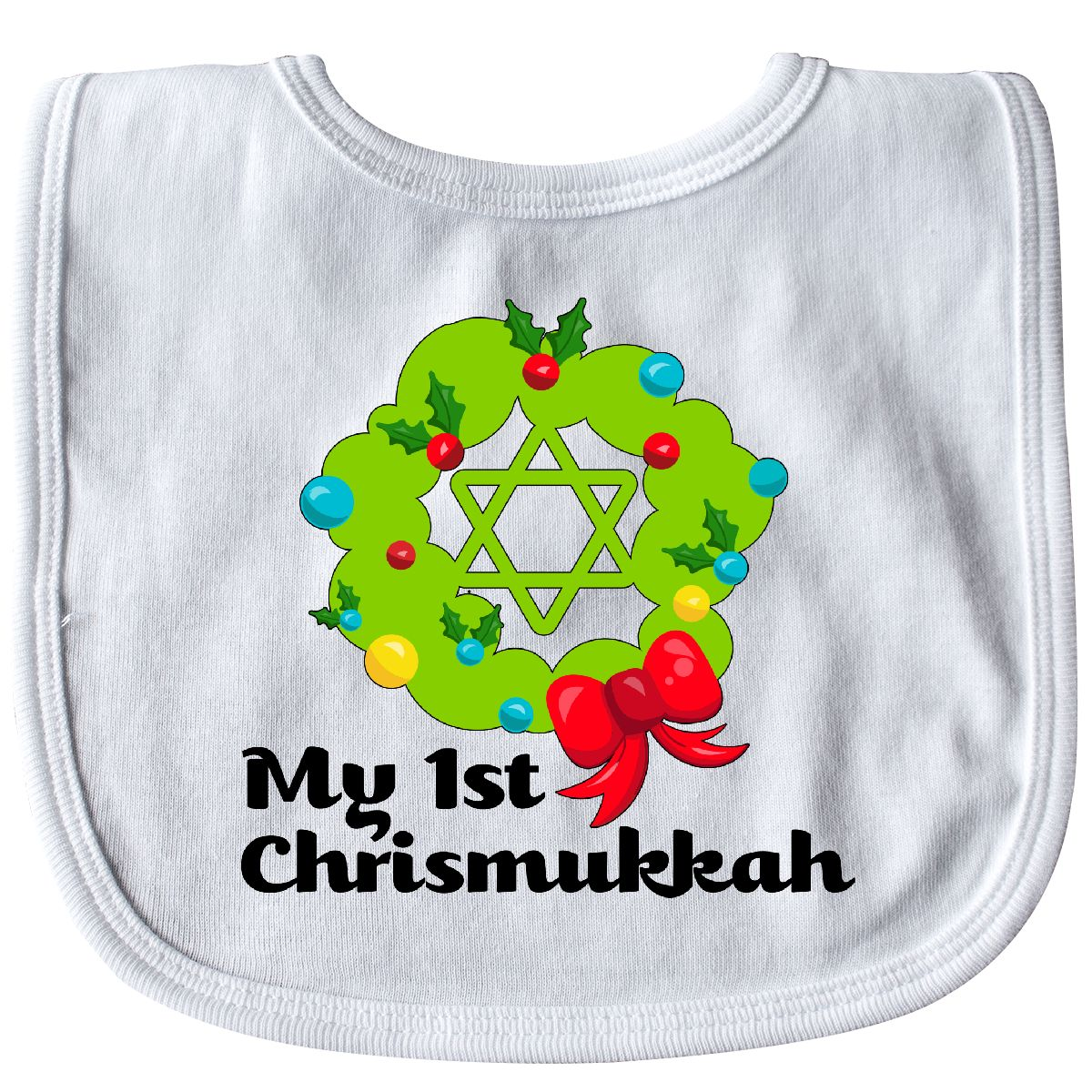 Inktastic My First Chrismukkah Baby Bib Holiday Christmas Hanukkah ...