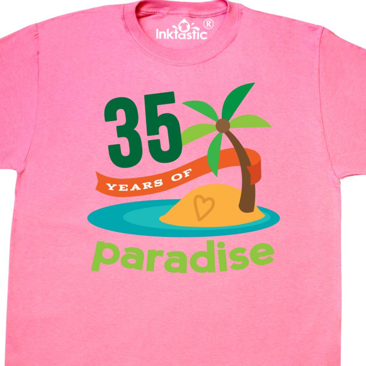 Inktastic 35th Anniversary Paradise T-Shirt 35 Year Wedding Tropical Hawaiian