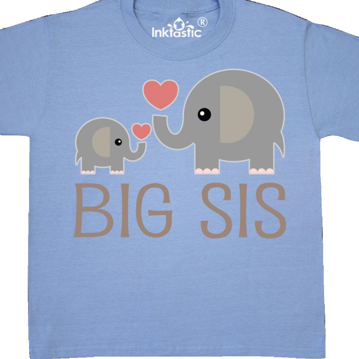 Inktastic Big Sis Elephant Youth T-Shirt Kids Sister Siblings Cute Girls Childs