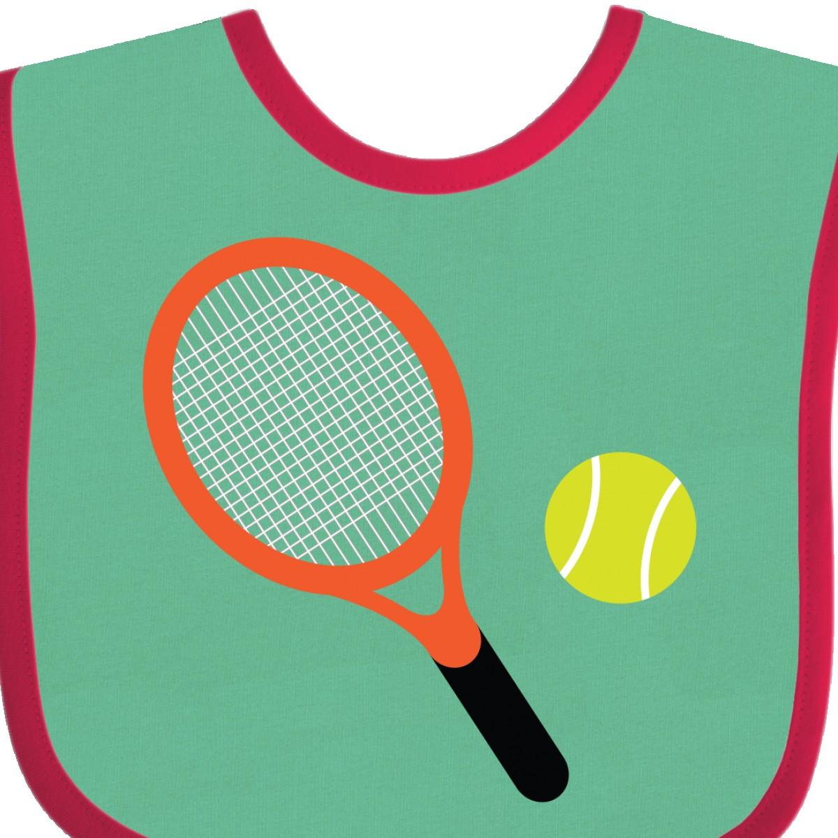 Inktastic Tennis Racket And Ball Baby Bib Sports Team Hobbies Hobby Clothing Hws