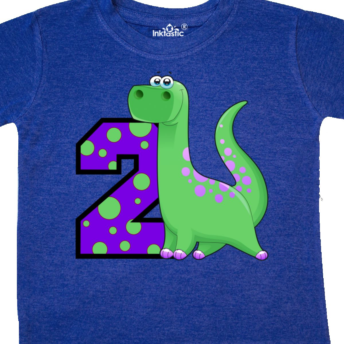 Inktastic 2nd Birthday Dinosaur Toddler T-Shirt Two Second Gift Child Kid