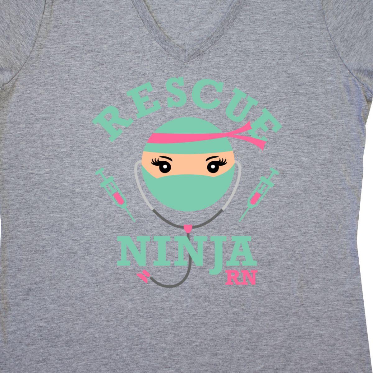 Inktastic Rescue Ninja RN Women/'s V-Neck T-Shirt Registered Nurse Nursing Room