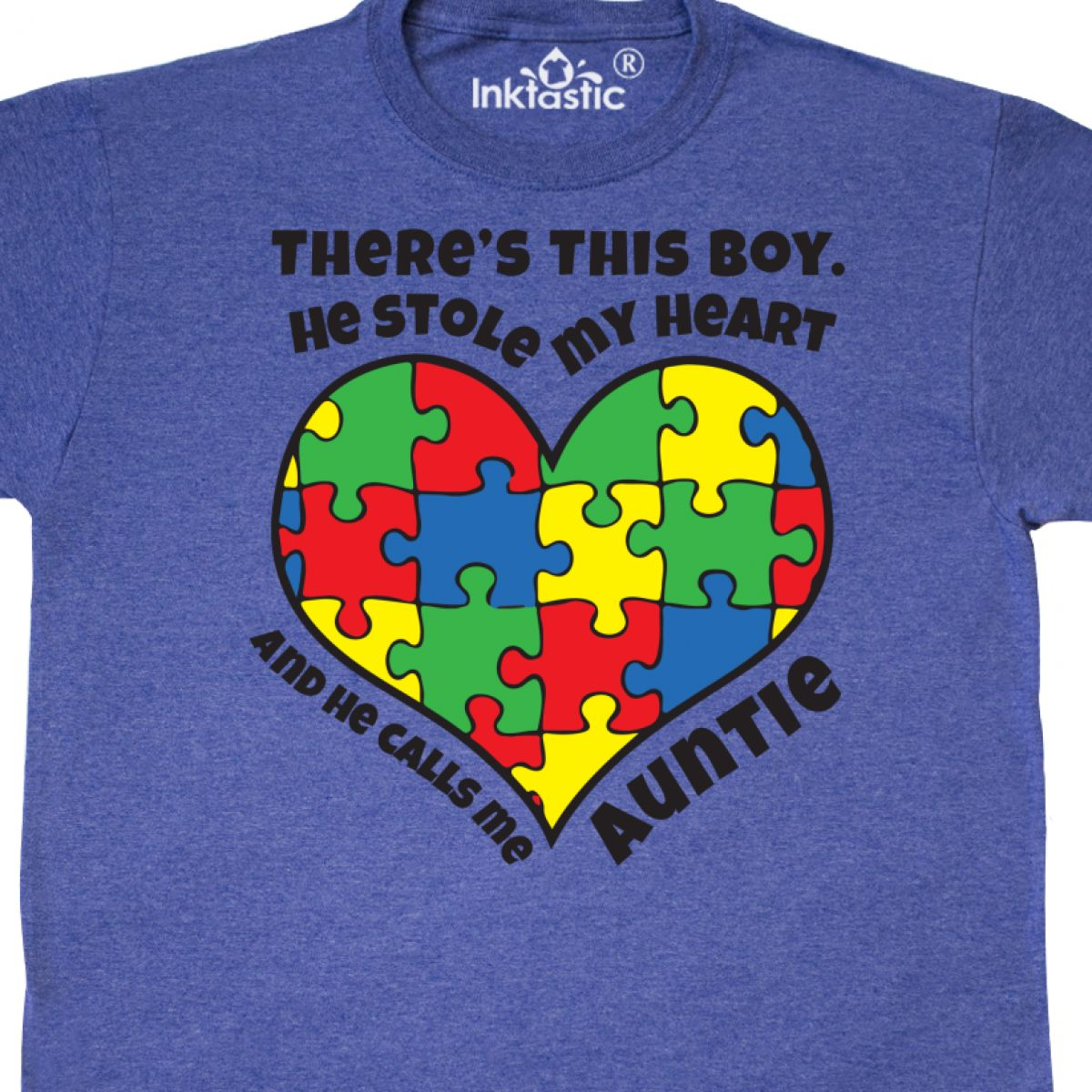 Inktastic Auntie Of Autistic Nephew T-Shirt Autism Ribbon Awareness Puzzle Piece