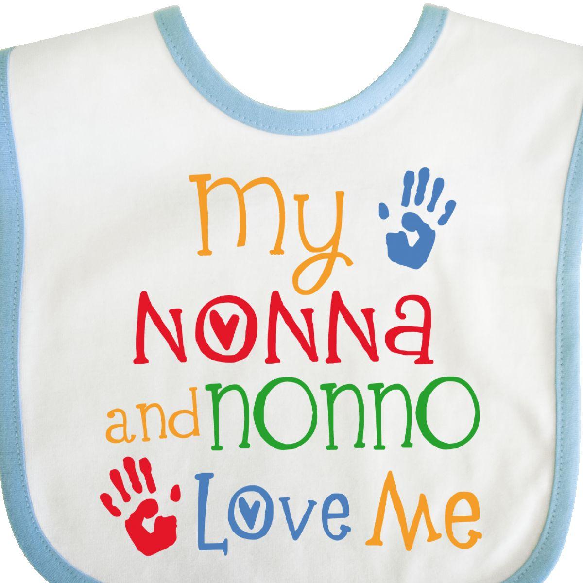 Inktastic My Nonna And Nonno Love Me Grandchild Baby Bib Loves Grandkids Kids
