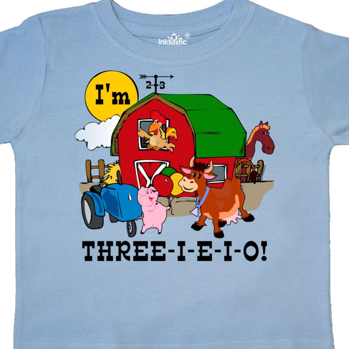 Inktastic THREE-I-E-I-O Toddler T-Shirt Barn Cow Pig Horse Eieio Tractor Cute