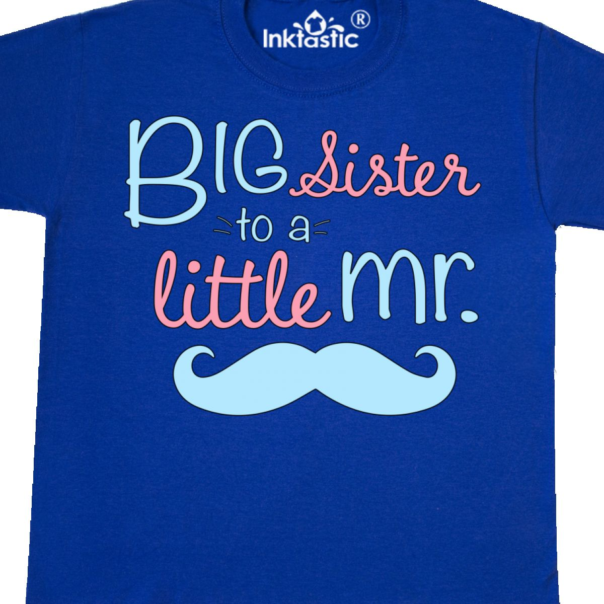 Inktastic Big Sister To A Little Mr Youth T-Shirt Children Sis Girl Mustache Tee