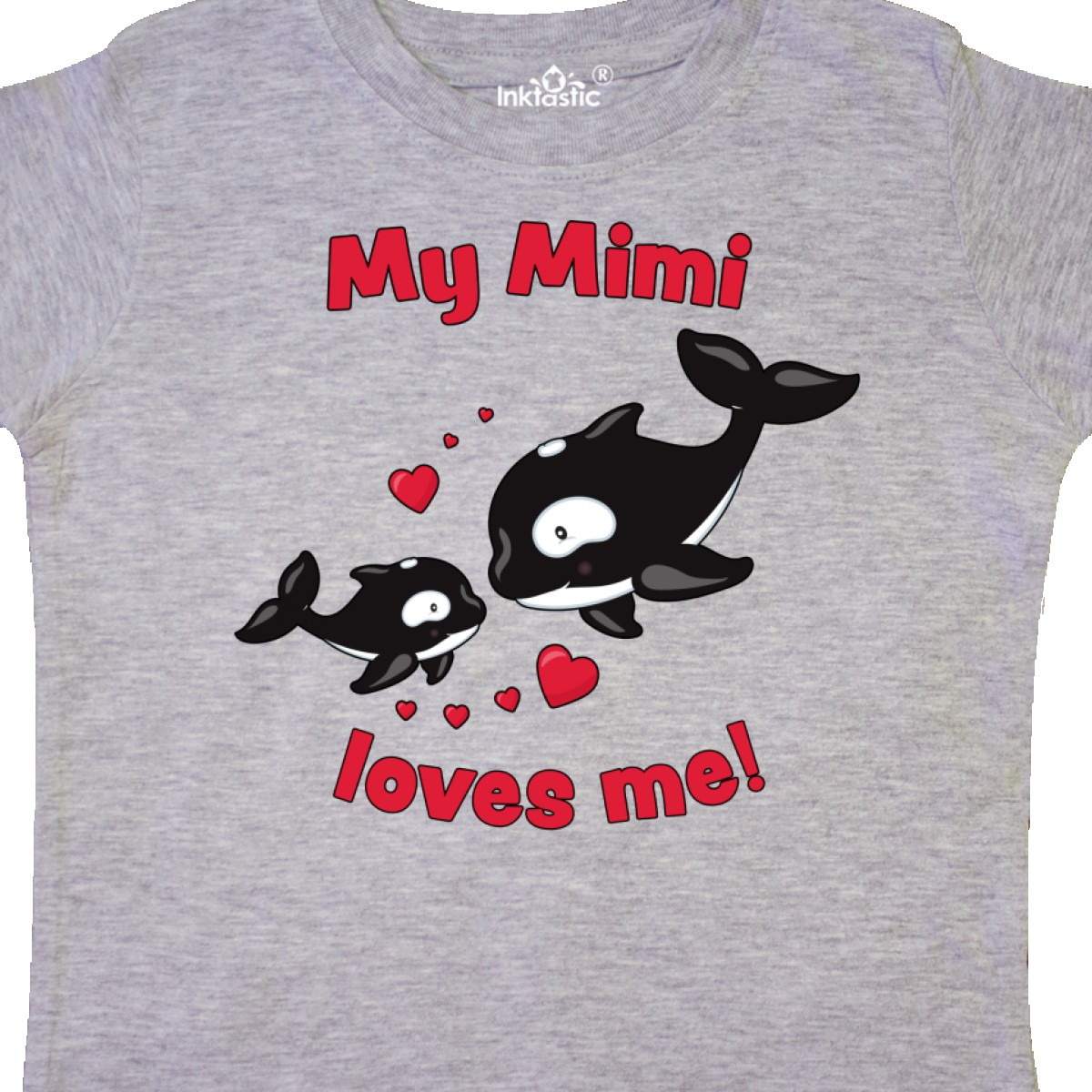 Inktastic My Mimi Loves Me Orca Family Toddler T-Shirt Sea Ocean Grandma First