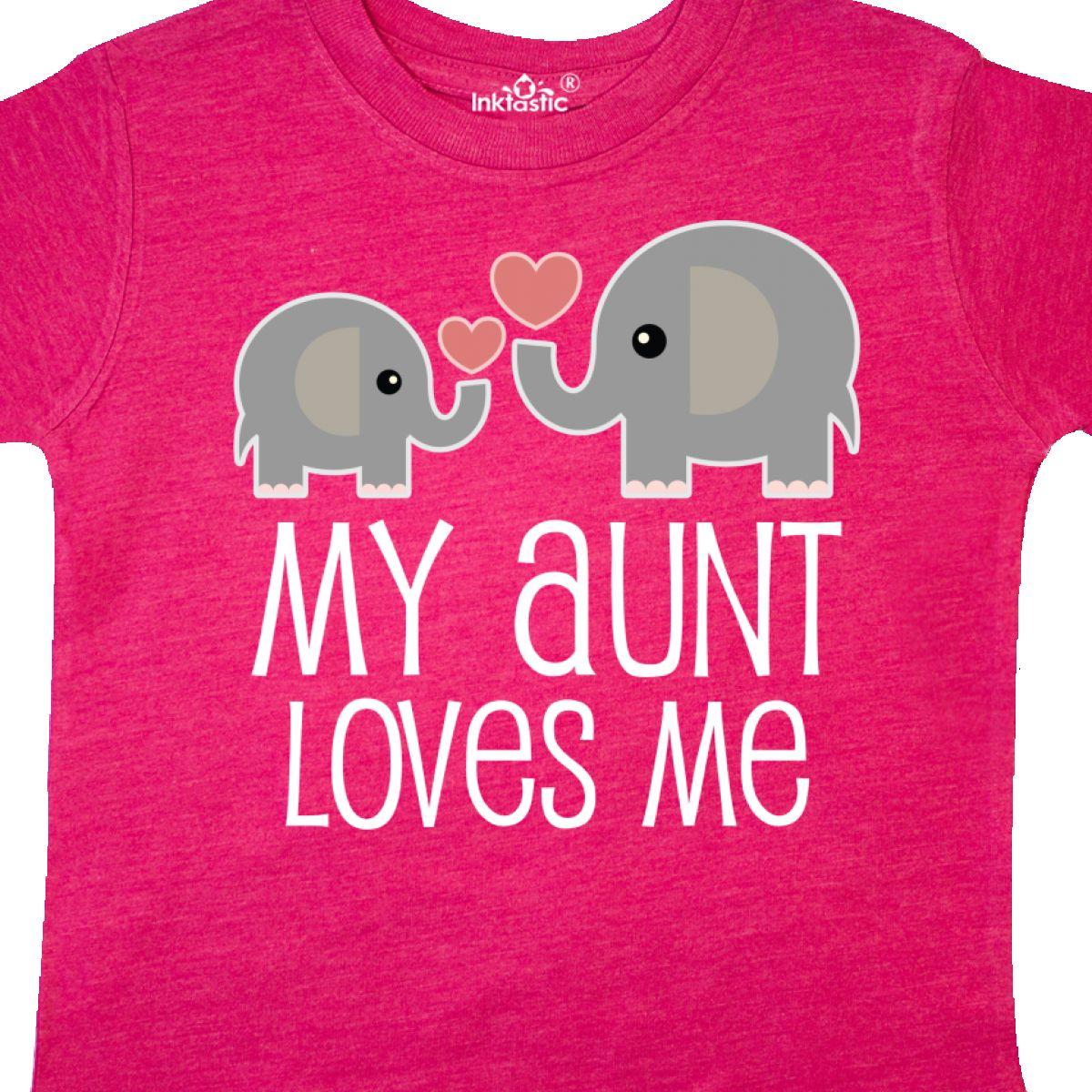 Inktastic My Aunt Loves Me Niece Nephew Elephant Toddler T-Shirt Auntie Aunty I