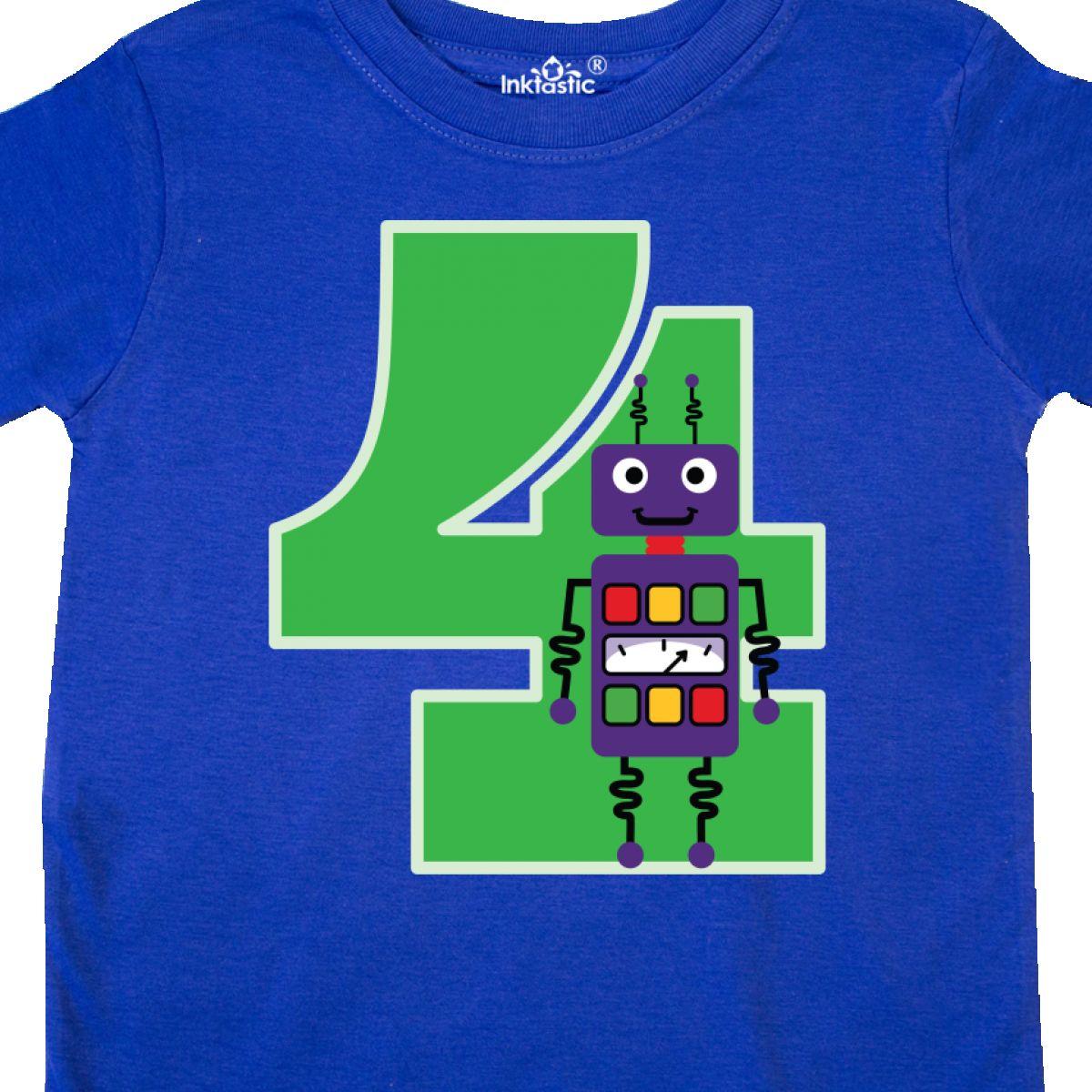 Inktastic 4th Birthday Robot Boys Robotics Toddler T-Shirt Four Fourth Happy 4