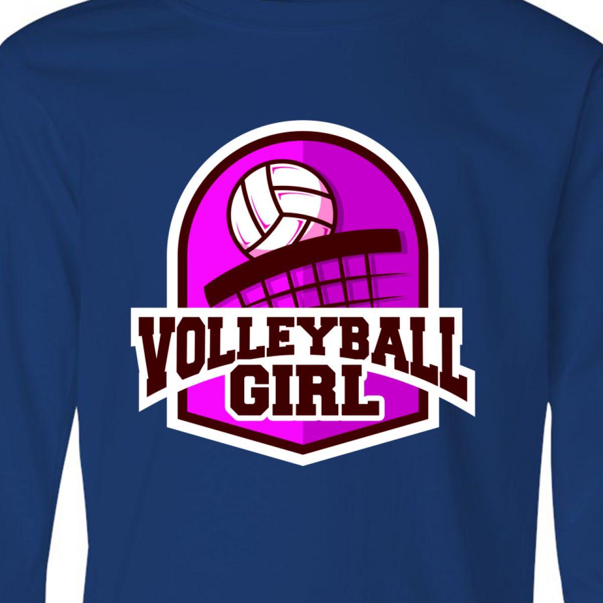 Inktastic Volleyball Girl Youth Long Sleeve T-Shirt Badge Tee Kids Children Teen