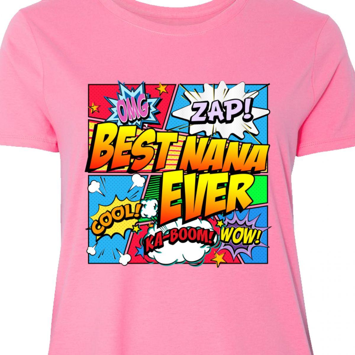 14878980 Damenmode Inktastic Best Nana Ever Comic Book Women's Plus Size T-Shirt  Superhero Just My