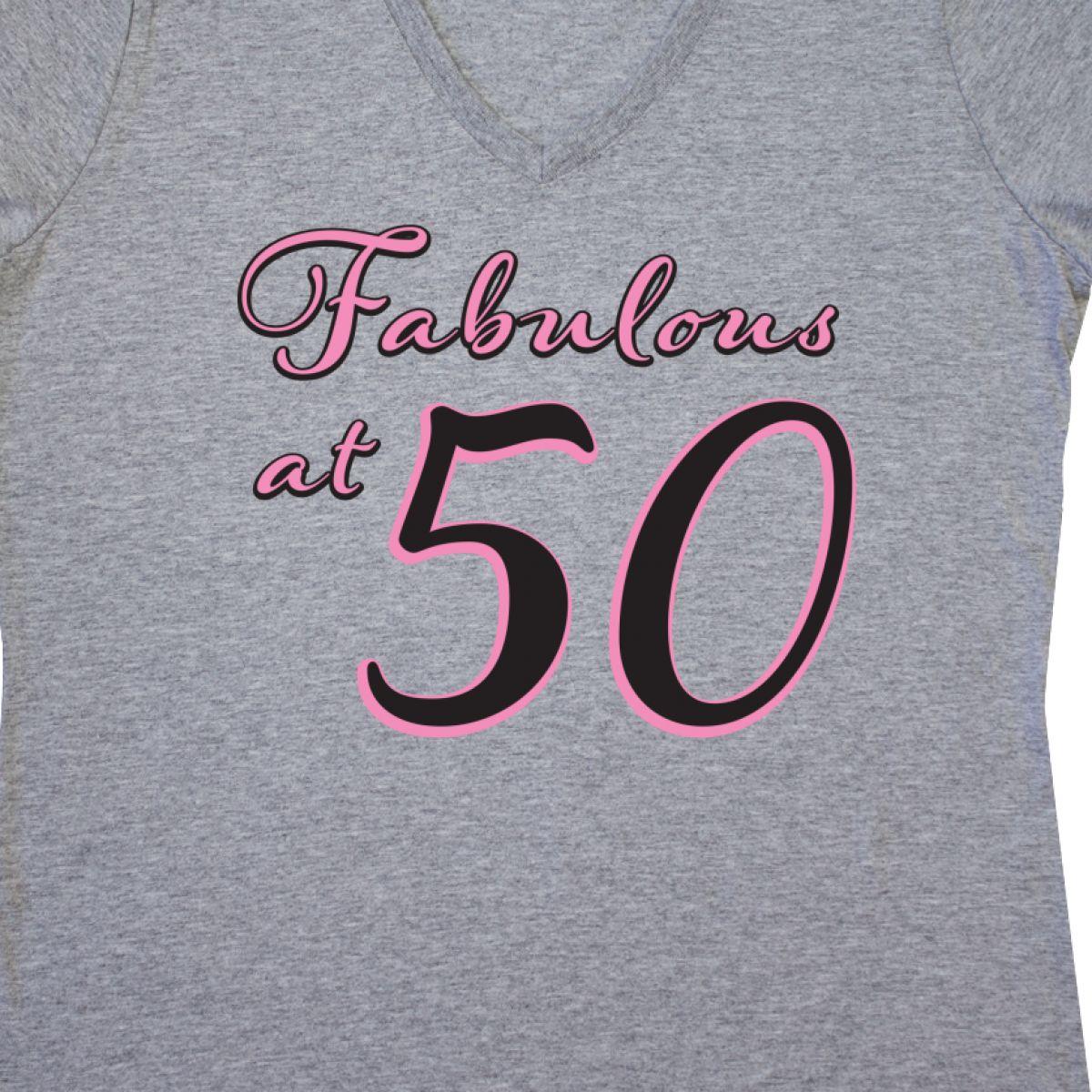 Inktastic Fabulous At 50 Women/'s V-Neck T-Shirt Im Milestone Birthday Fifty 50th
