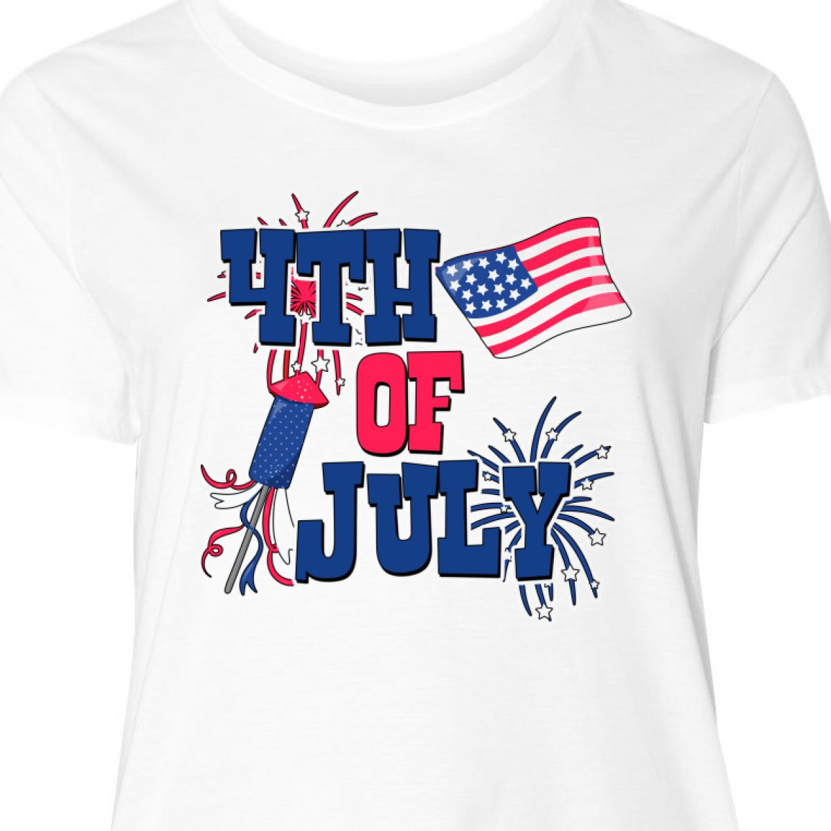 5b920903c Inktastic 4th Of July With Fireworks American Flag And Women's Plus Size T- Shirt Damenmode