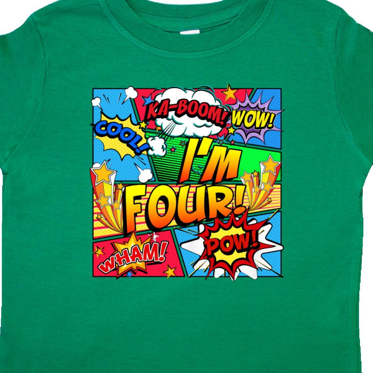 Inktastic I/'m Four Comic Book Toddler T-Shirt Superhero 4th Birthday Hero Unisex