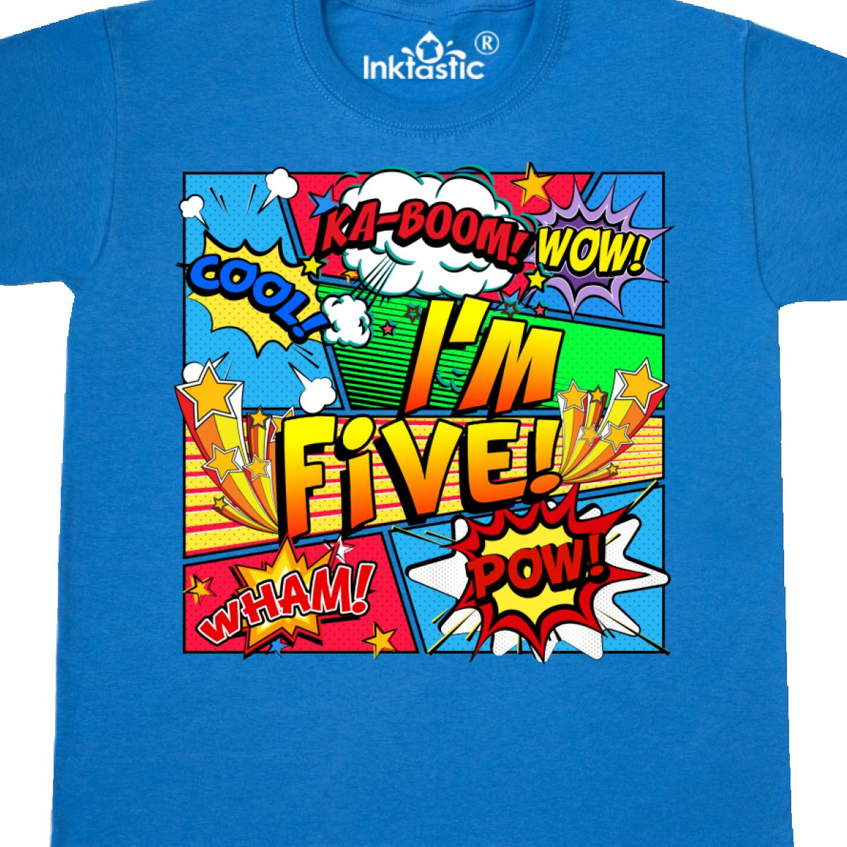 Inktastic I/'m Five Comic Book Youth T-Shirt Superhero 5th Birthday Tee Kids Teen