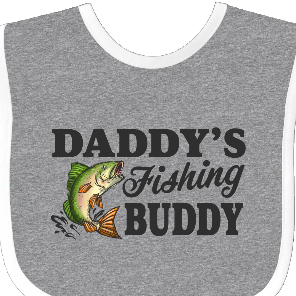 Inktastic Daddy/'s Fishing Buddy Baby Bib Kids Little Fish Illustration I Love