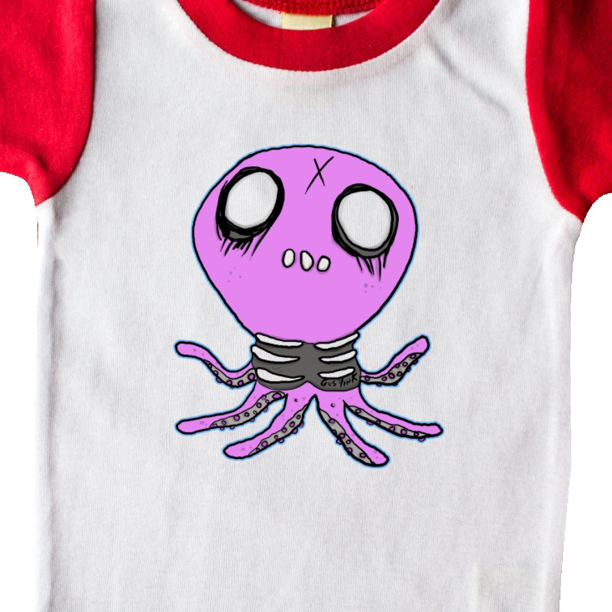 Inktastic Death Metal Octopus Infant Creeper T-shirt Skeleton Horror Goth Nerd