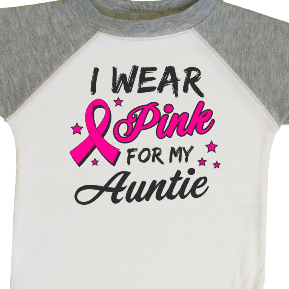Inktastic I Wear Pink For My Auntie With Ribbon And Stars Infant Creeper Breast