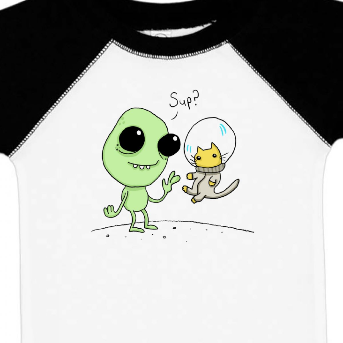 Inktastic Alien And Astronaut Kitty Cat Infant Creeper Sup T-shirt Nasa Shirt Up