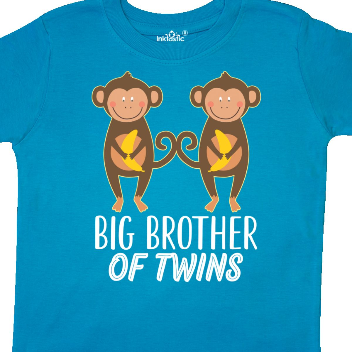 Inktastic Brother Of Twins Boys Gift Toddler T-Shirt Twin Big Cute Monkey Funny