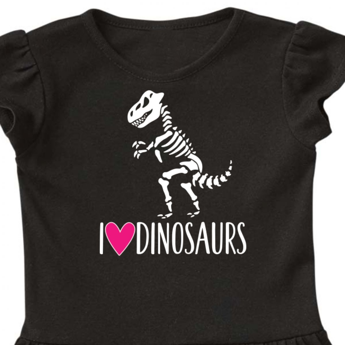 Inktastic Dinosaur Tyrannosaur Skeleton Girls Toddler Dress Dino Childs Pink Hws
