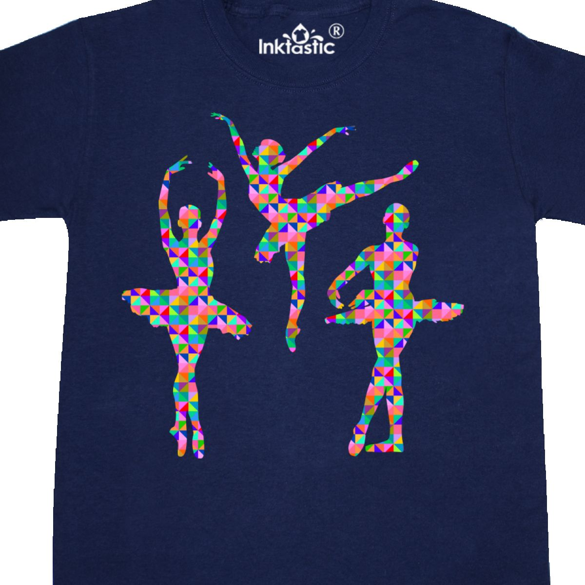 Inktastic Geometric Pattern Ballerinas Youth T-Shirt Ballerina Ballet Silhouette