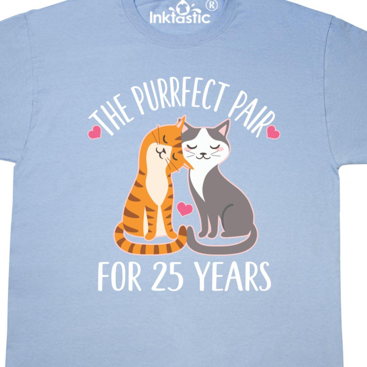 Inktastic 25th Anniversary Gift Cat Couples T-Shirt Wedding Cute Celebration Hws