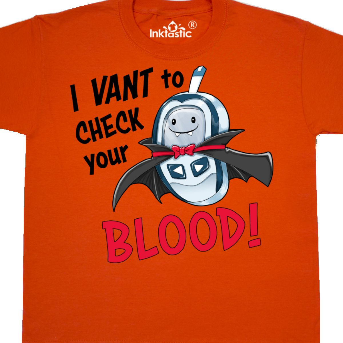 Youth T-Shirt Awareness Diabetes Halloween Inktastic I Vant To Check Your Blood