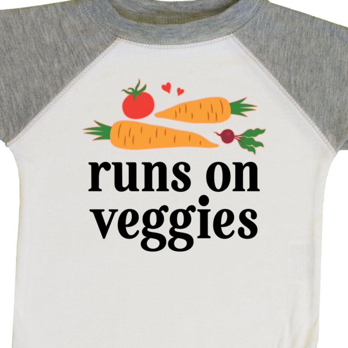 Inktastic Vegetarian Runs On Veggies Infant Creeper Food Funny Organic Hipster