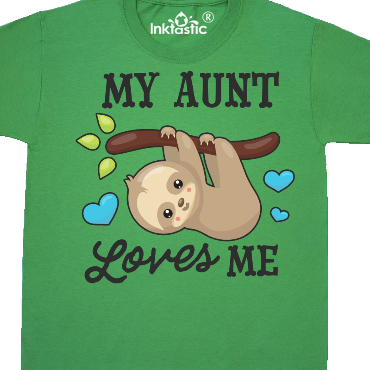 Inktastic My Aunt Loves Me With Sloth And Hearts Youth T-Shirt Animals Kids Love
