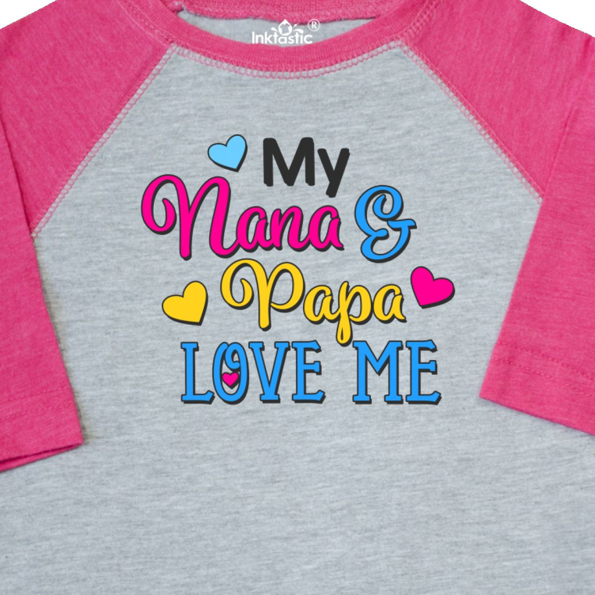 Inktastic My Nana And Papa Love Me With Hearts Toddler T-Shirt Family Cute Gift