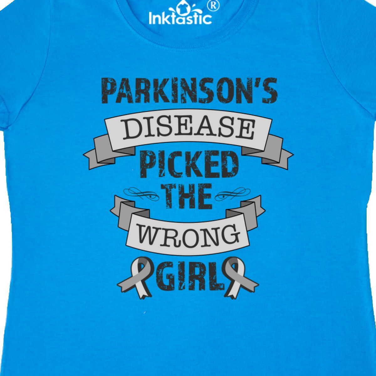 Inktastic Parkinsons Disease Picked The Wrong Girl Women/'s T-Shirt Ribbon Hope
