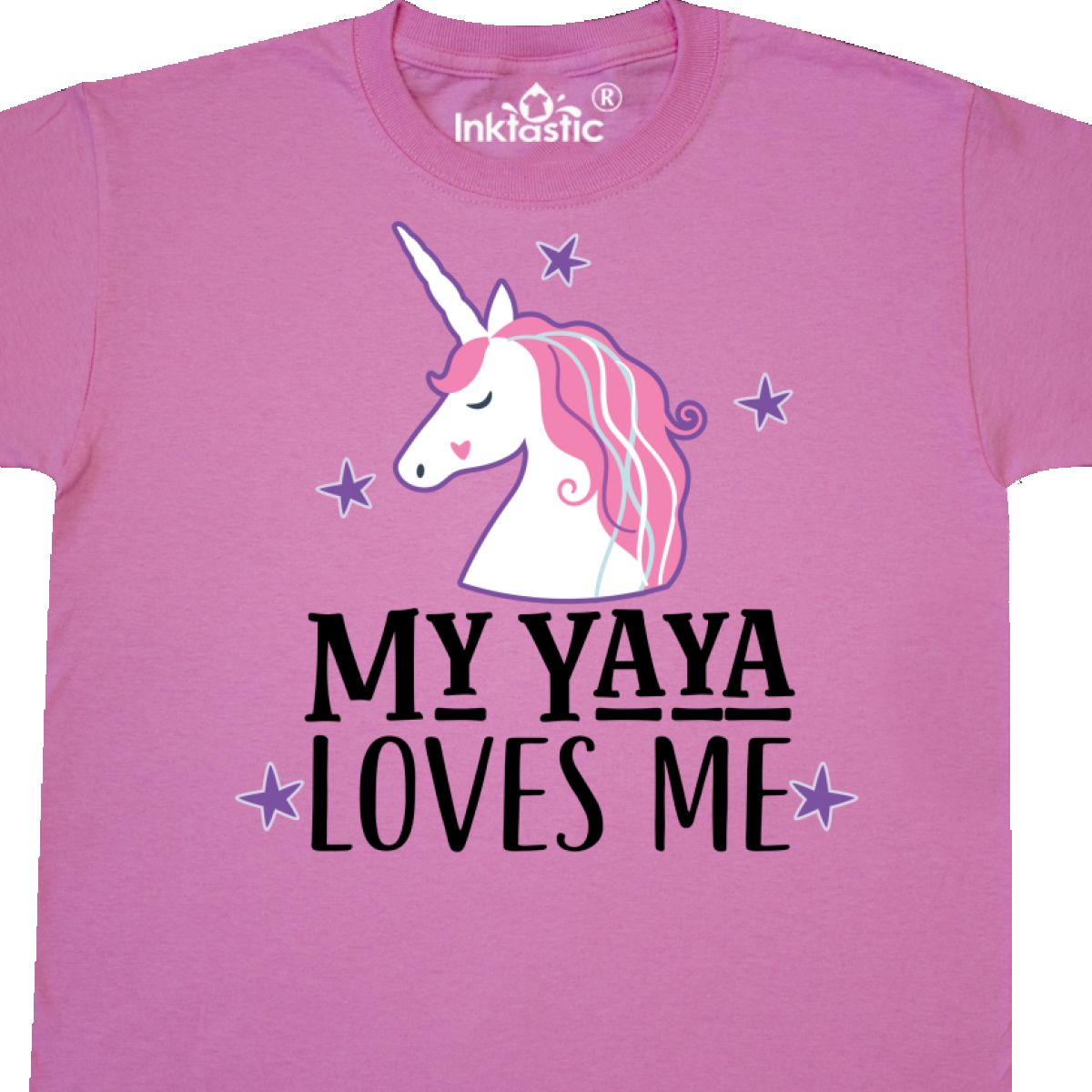 Inktastic My Yaya Loves Me Unicorn Youth T-Shirt Grandchild Childs Clothing Baby
