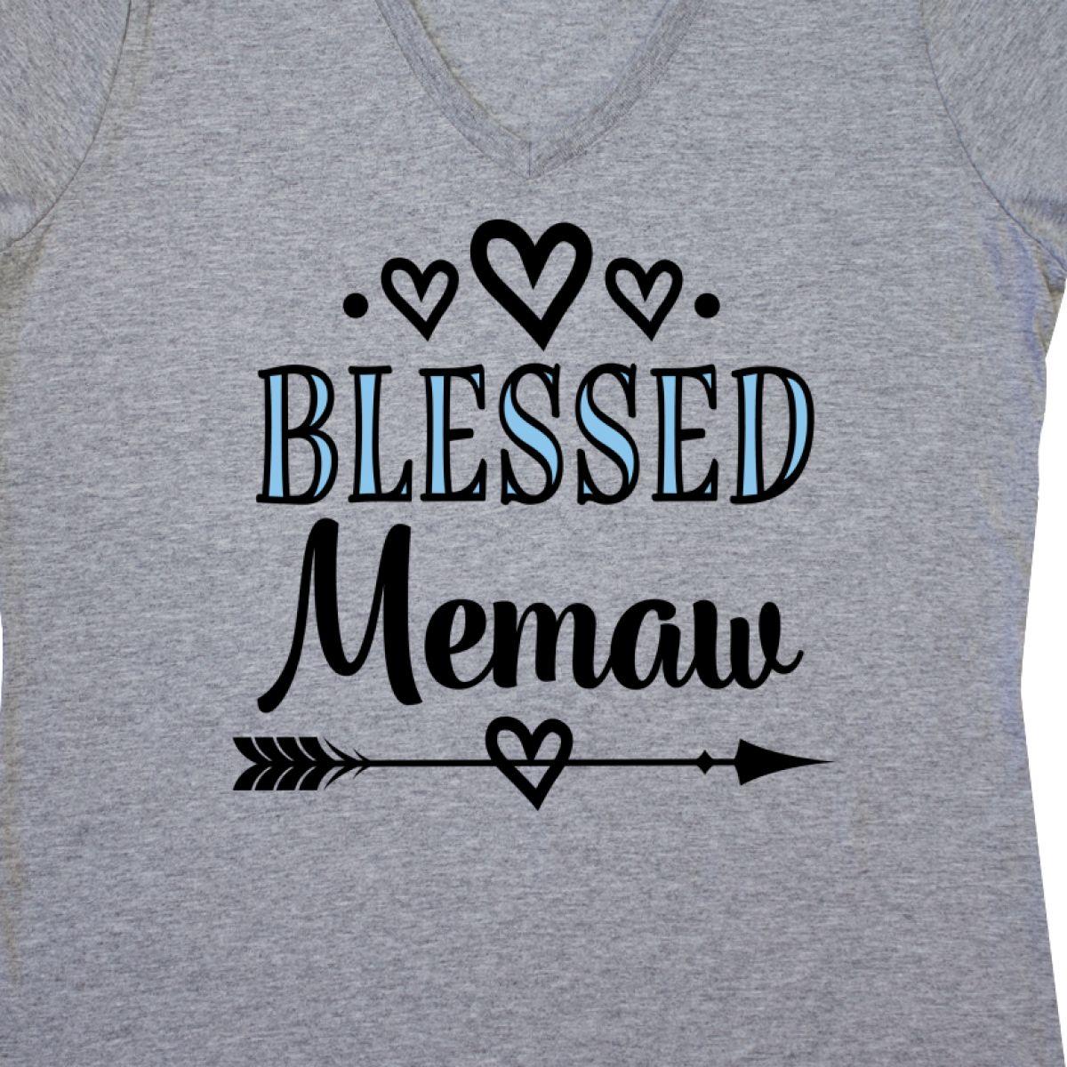 Inktastic Blessed Memaw Grandma Gift Women/'s V-Neck T-Shirt Ladies Clothing New