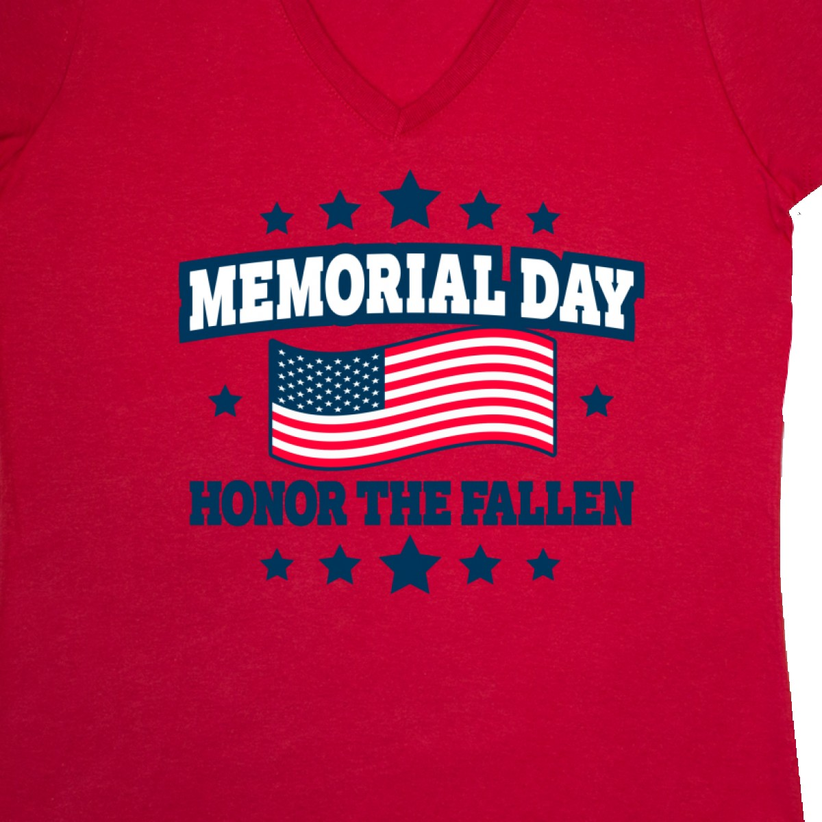Inktastic Memorial Day Honor The Fallen With American Women/'s V-Neck T-Shirt Red