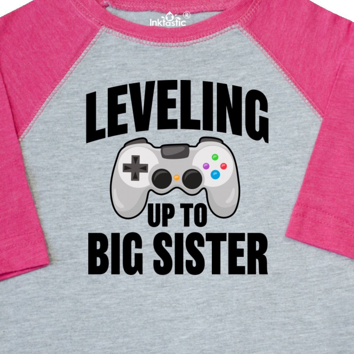 Inktastic Leveling Up To Big Sister Toddler T-Shirt Family Sis Announcement Gift