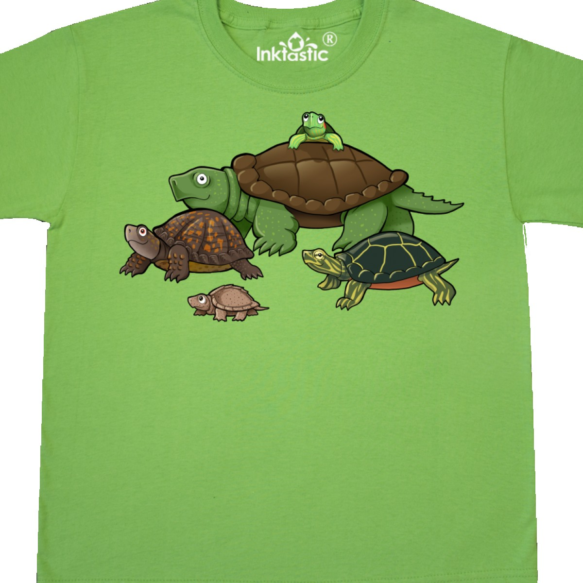 Inktastic Turtle Parade Youth T-Shirt Turtles Snapping Box Painted Musk Baby Red