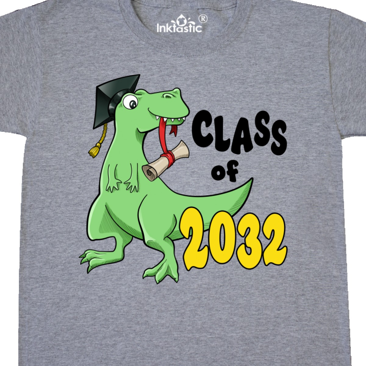 Inktastic Class Of 2032 Green Dinosaur With A Cap And Diploma Youth T-Shirt Kid