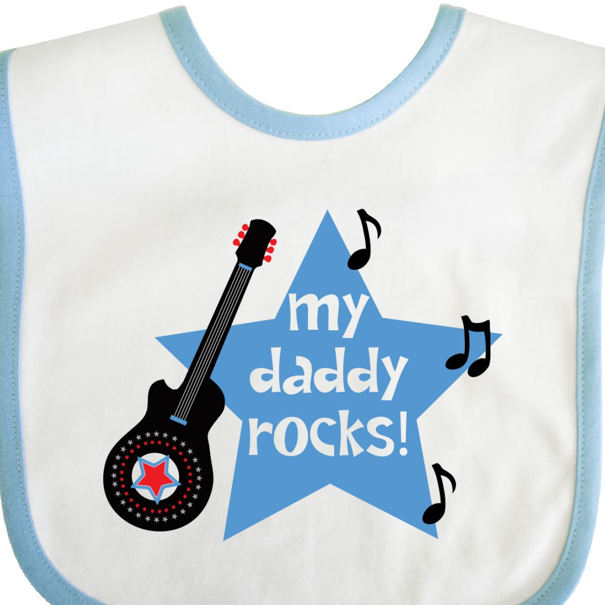 Inktastic My Daddy Rocks Baby Bib Guitar Music Fathers Day Rock Rockstar Funny