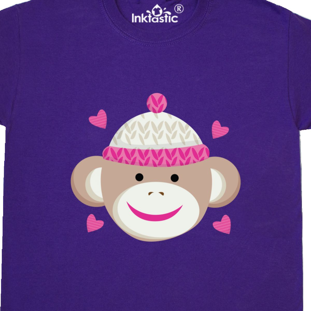 Inktastic Sock Monkey Youth T-Shirt Heart Hearts Pretty Pink Cute Tee Kids Child