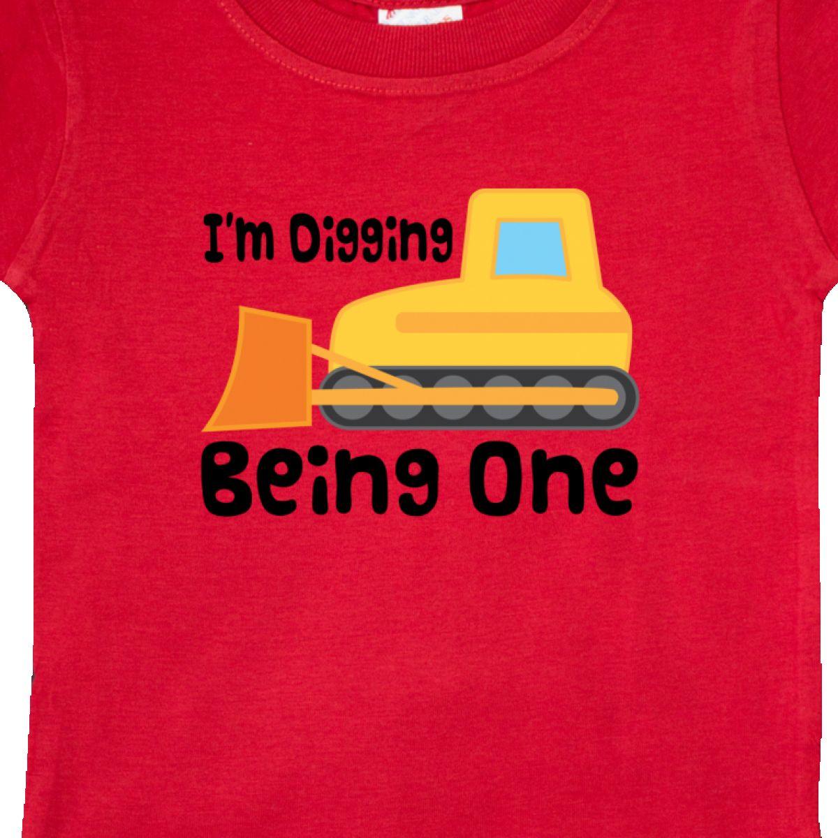 Inktastic Bulldozer 1st Birthday Baby T-Shirt Year Old Turning Dig Gift Idea For