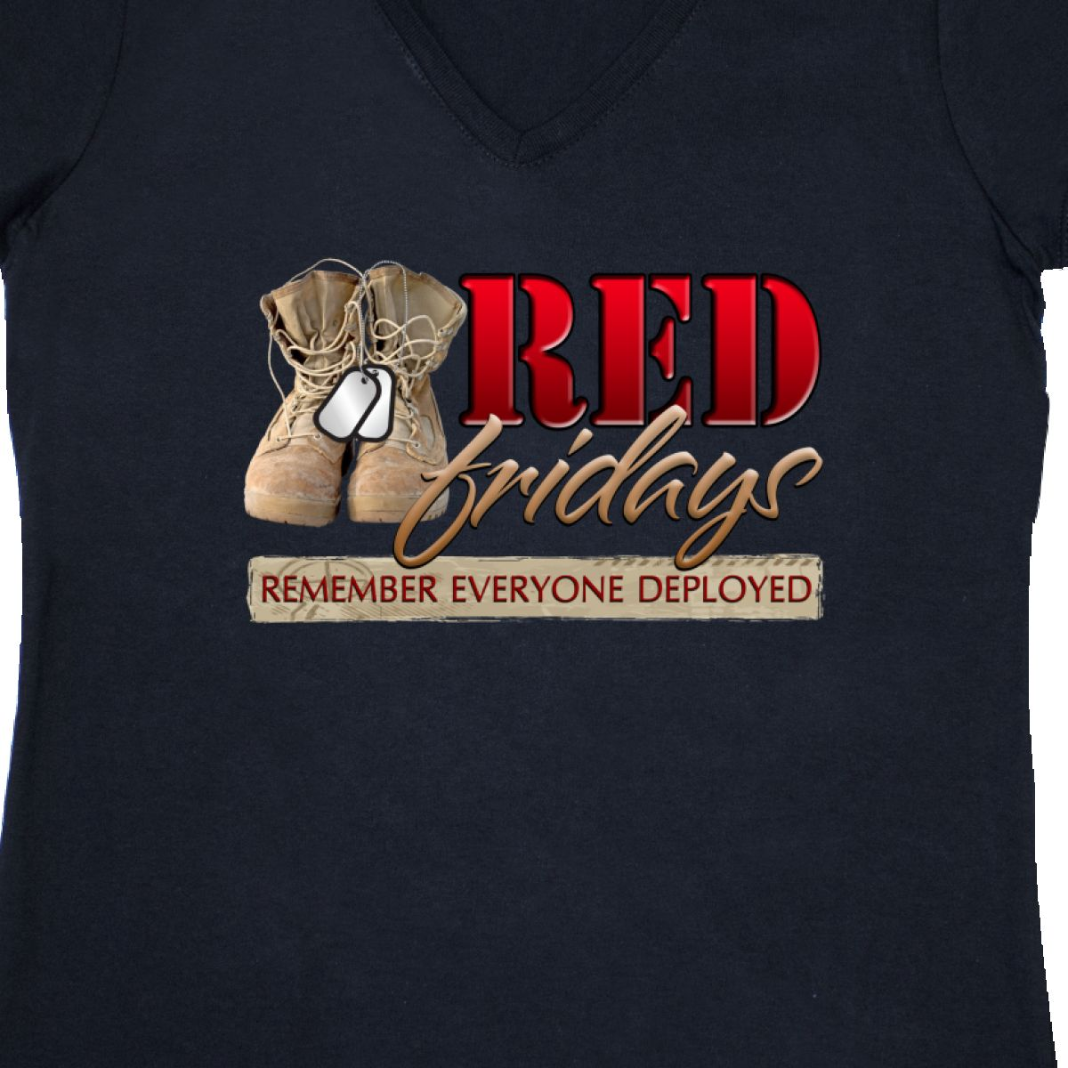 Inktastic Red Fridays Women/'s V-Neck T-Shirt Combat Boots Deployment I boots