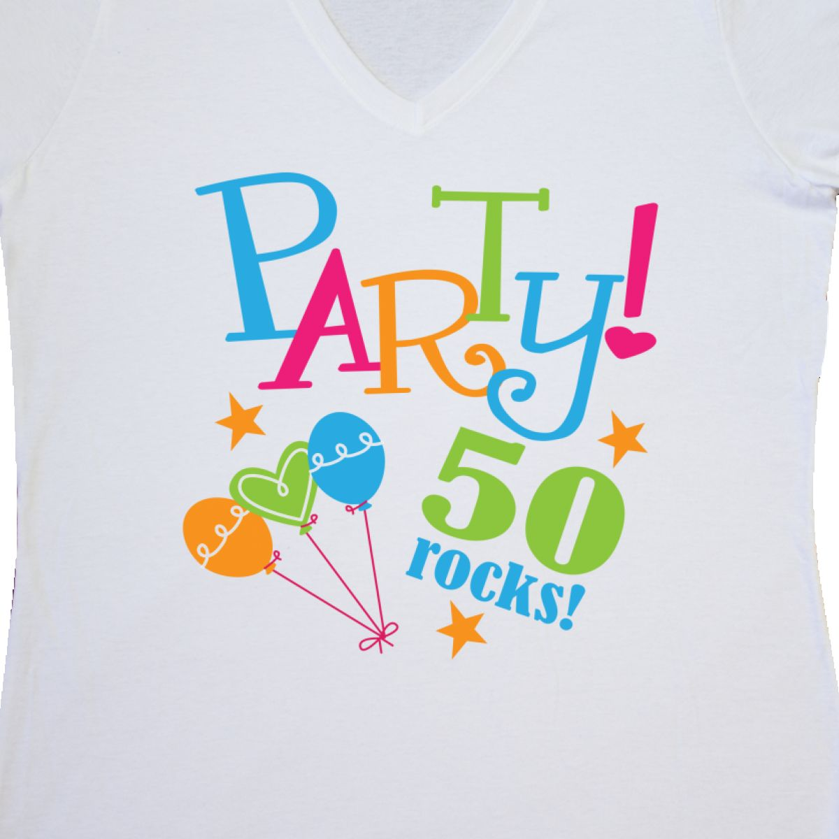 Inktastic 50th Birthday Party Gift Women/'s V-Neck T-Shirt 50 Year Old Rocks Cute