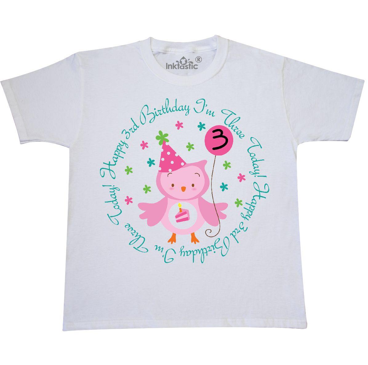 3rd Birthday Owl Im Three Youth T Shirt White X Small 2 4