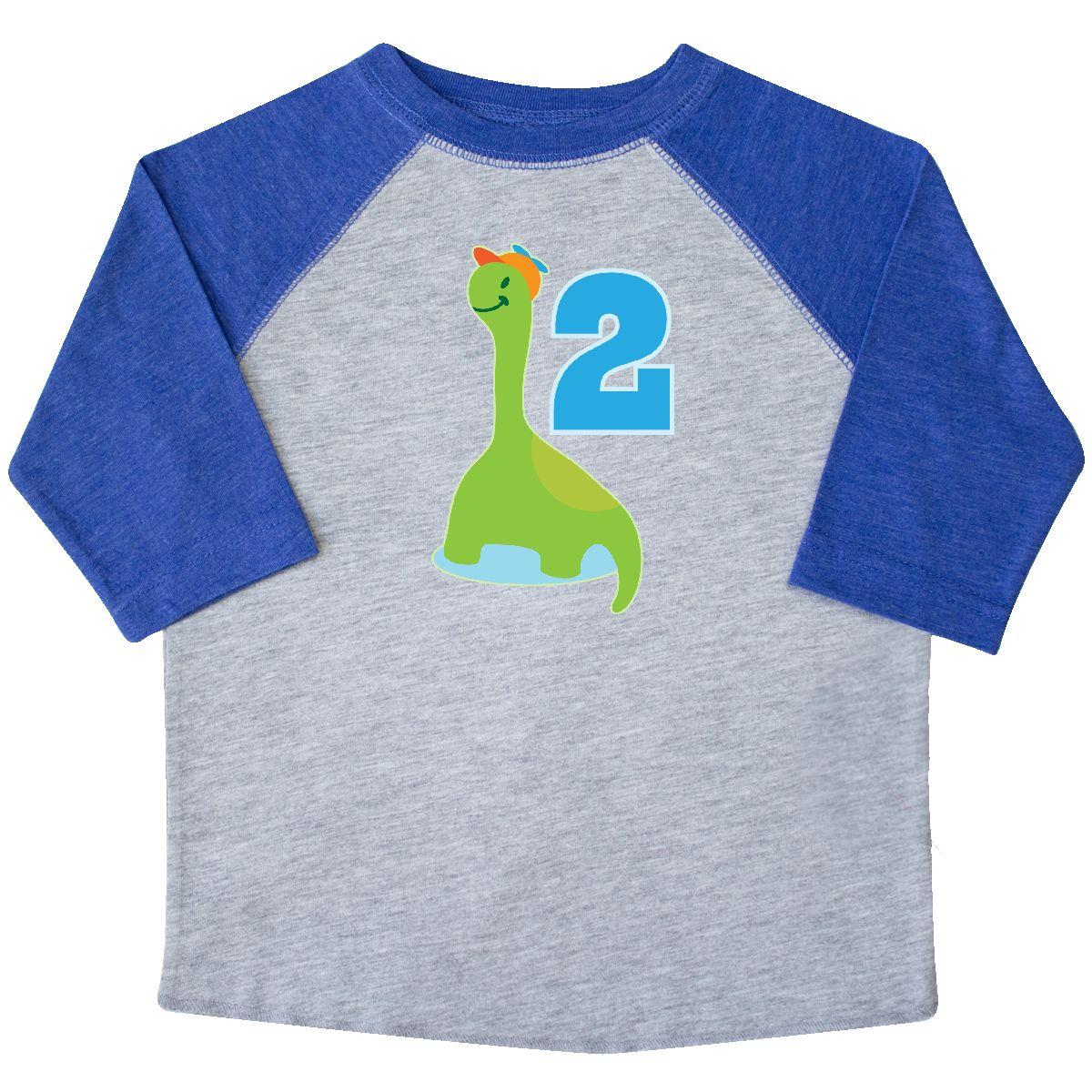 92fdbd0d Dinosaur 2nd Birthday Boys Cute Dino Toddler T-Shirt Heather and Royal 2T