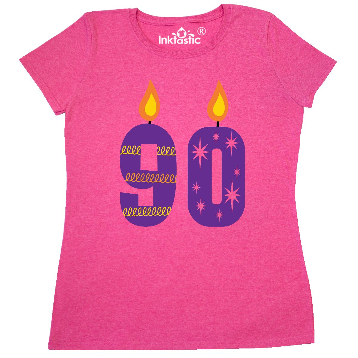 90th Birthday Party Candles Womens T Shirt Retro Heather Pink Small