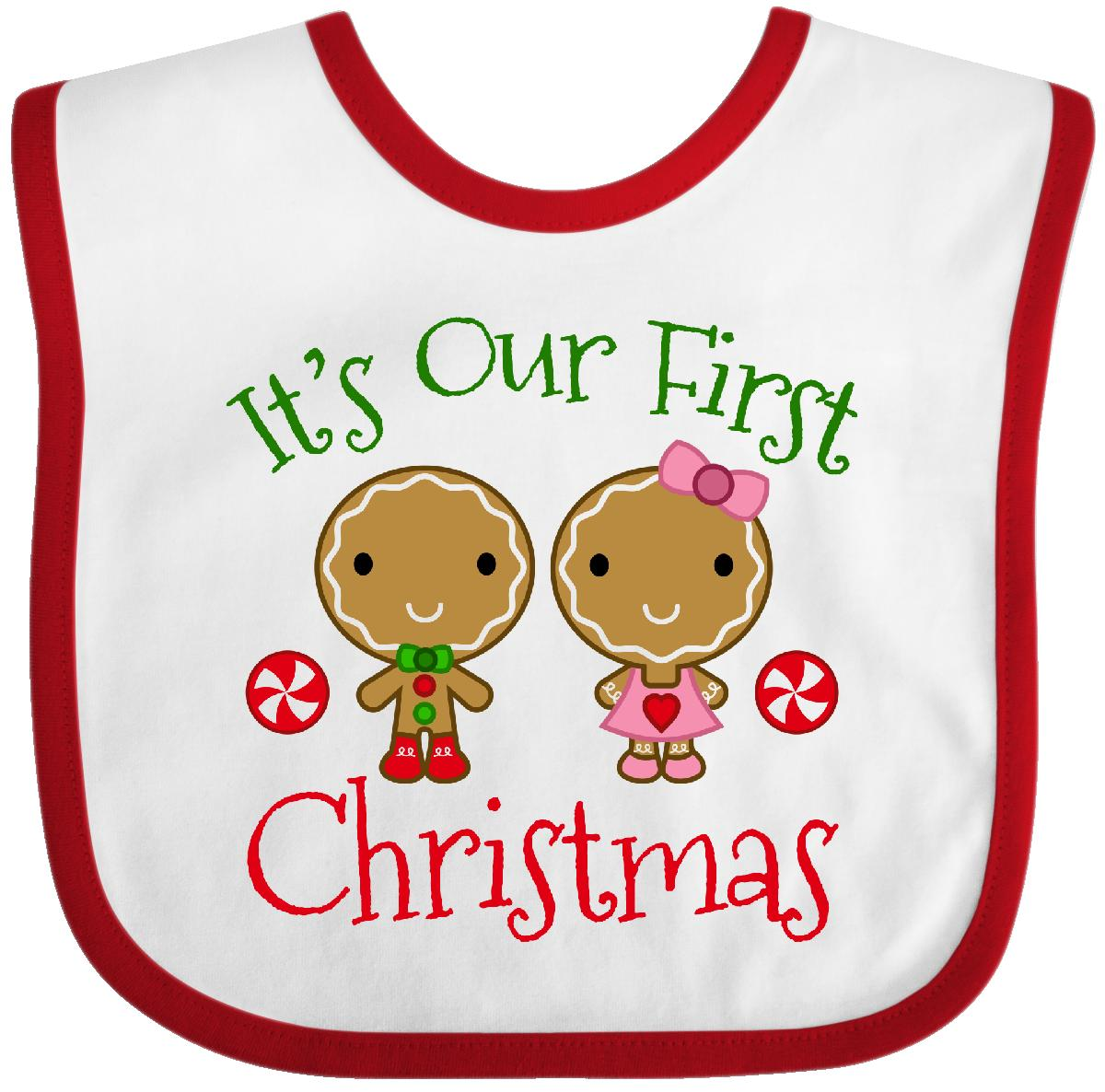 0564527349d7 Inktastic Christmas Boy Girl Twins Baby Bib Holiday Gingerbread ...