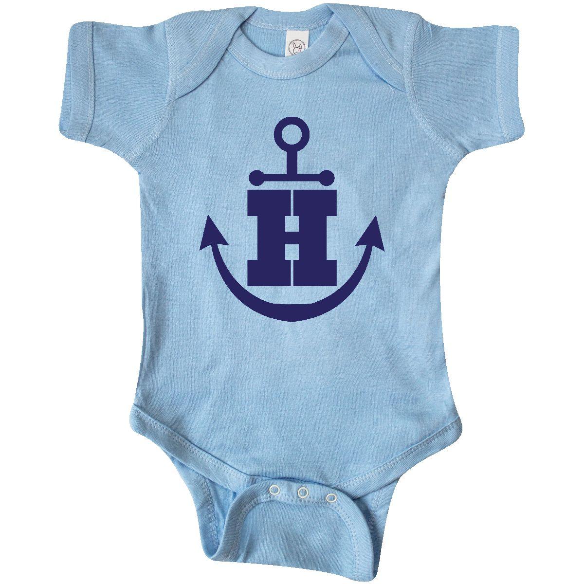 5e430b56f Inktastic Monogram Anchor Letter H Infant Bodysuit Initial Name ...