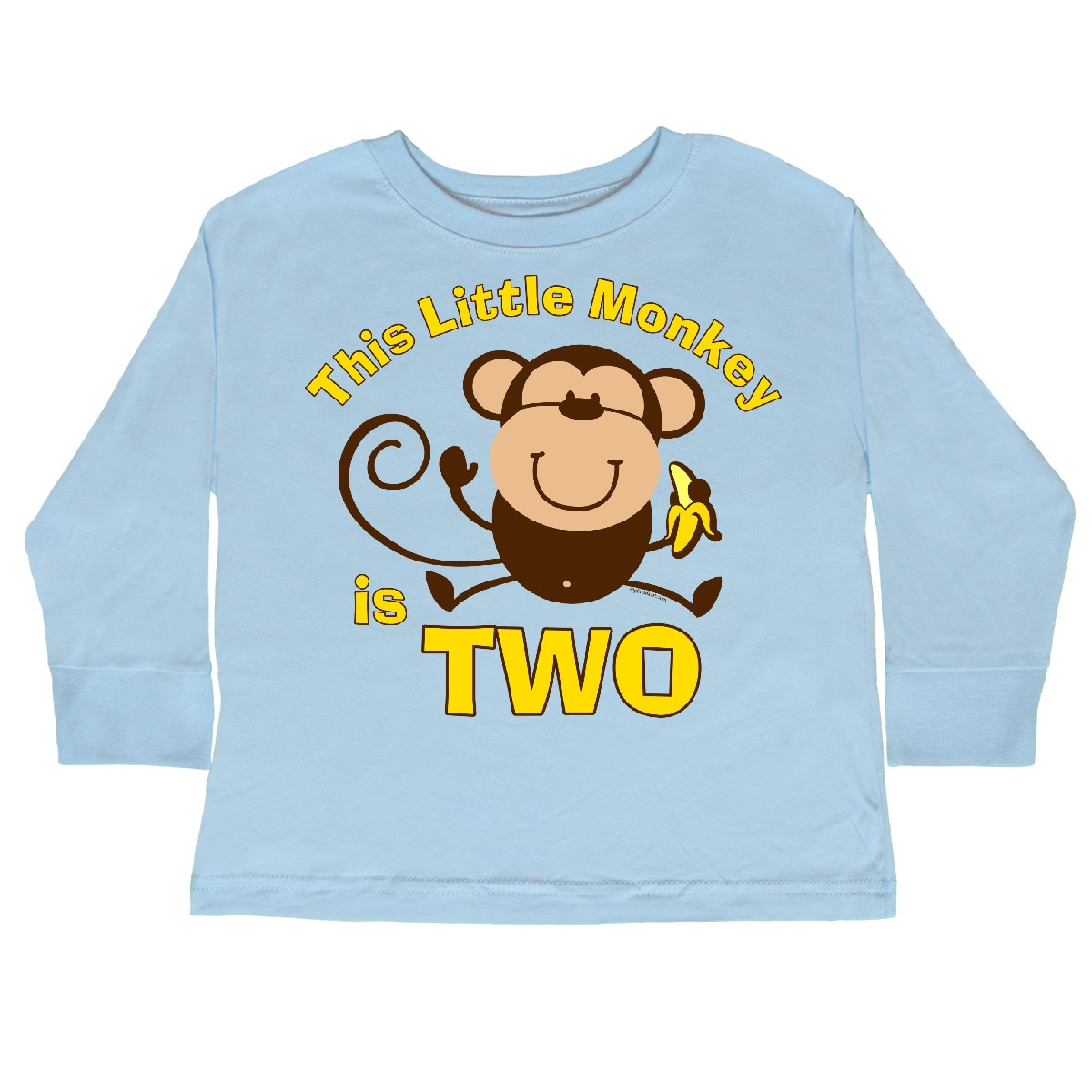 28e5e3fed Little Monkey 2nd Birthday Boy Toddler Long Sleeve T-Shirt Light Blue 3T