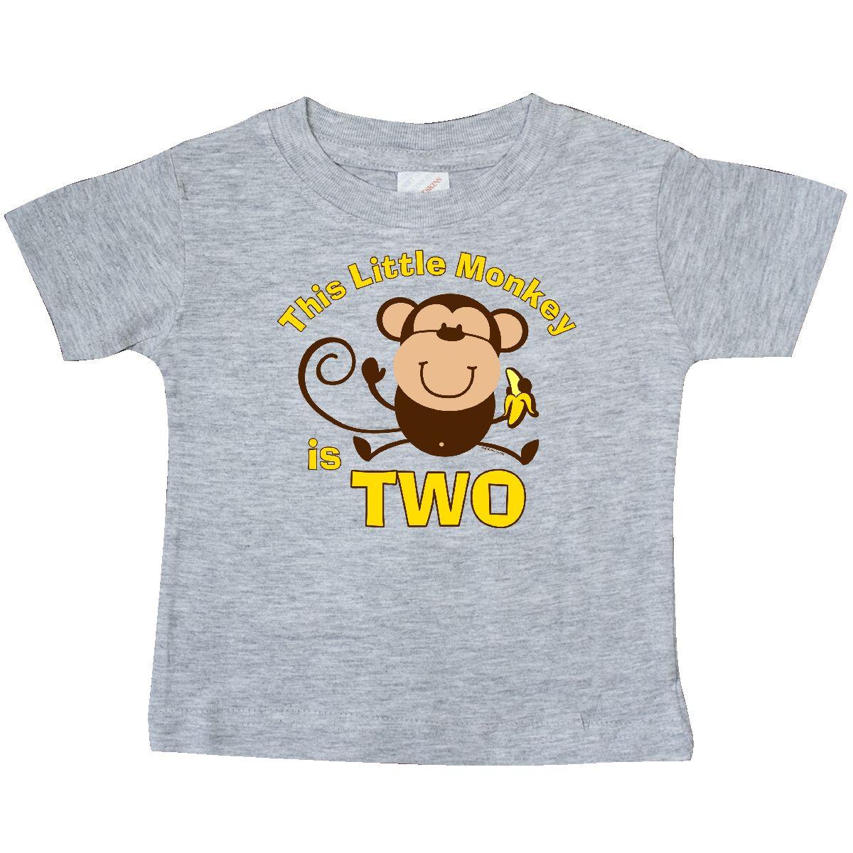 Little Monkey 2nd Birthday Boy Baby T Shirt Heather Grey 12 Months